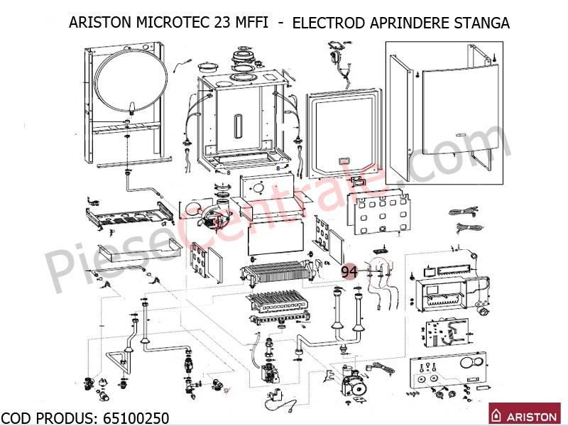 Poza Electrod aprindere stanga centrale termice Ariston MICROTEC SI MICROGENUS