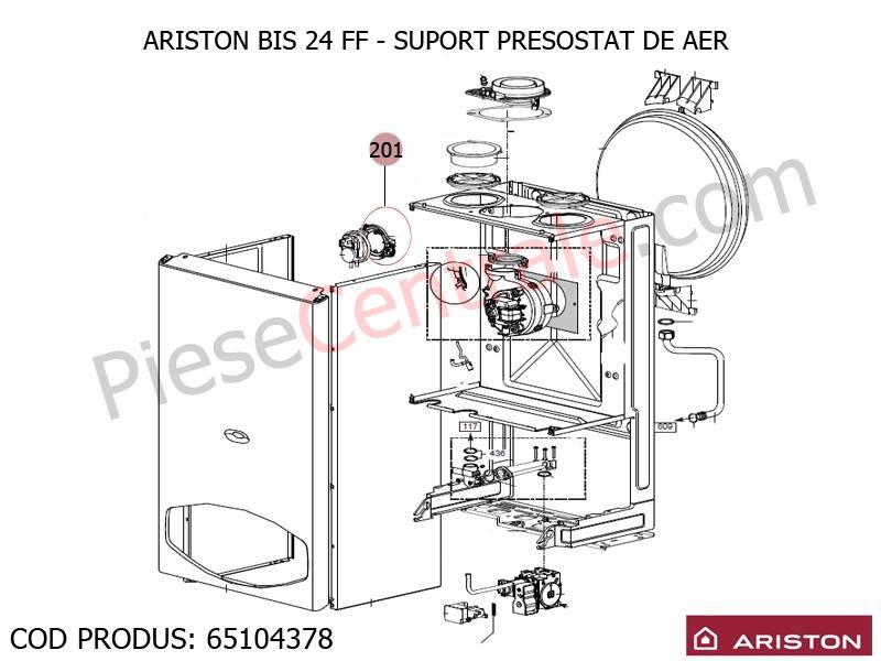 Poza Suport presostat aer centrale termice Ariston BIS 24 FF, EGIS SI AS