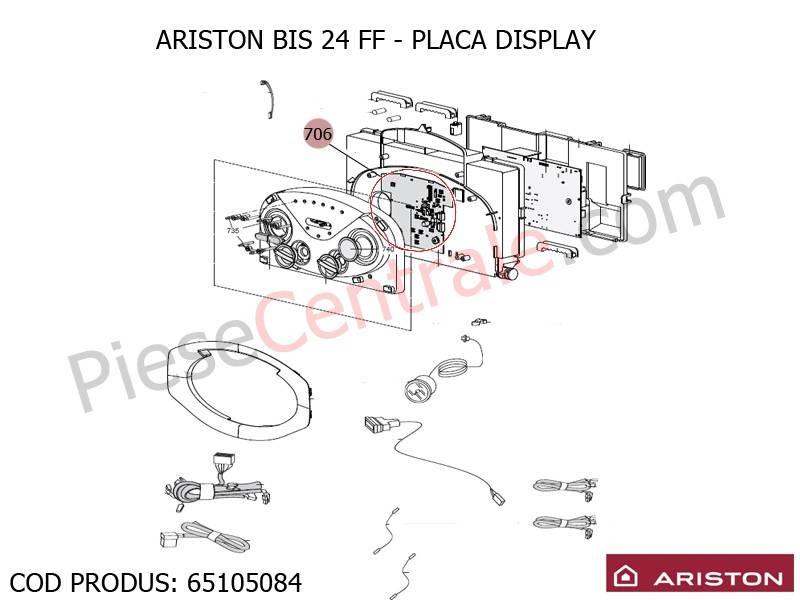 Poza Placa display centrale termice Ariston BIS 24 FF, EGIS, AS