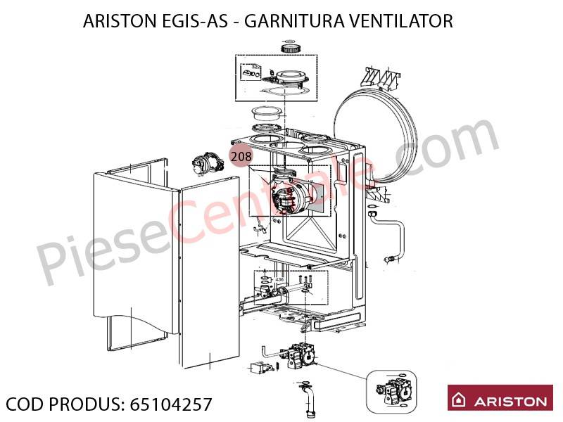 Poza Garnitura ventilator centrale termice Ariston EGIS, AS, Bis 24 FF, Bis 2 24 kw, Genus, Clas