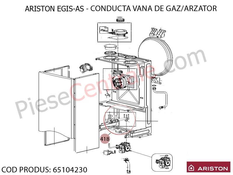 Poza Conducta vana de gaz-arzator centrale termice Ariston EGIS si AS