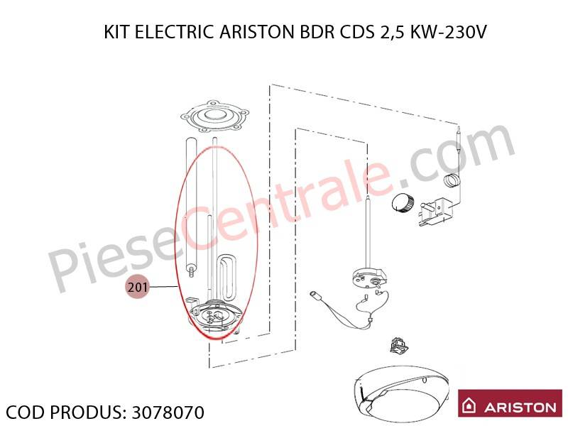 Poza Kit rezistenta electrica boiler Ariston BDR CDS 2.5 kw - 230 V