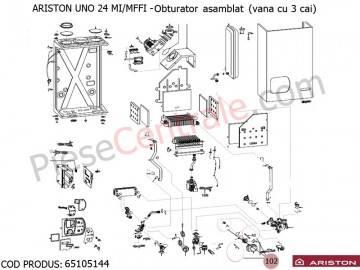 Poza Obturator asamblat ( vana cu 3 cai ) Ariston UNO 24 MI/MFFI